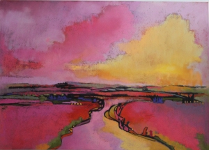 "Never and Always Mardie Dalzell Driftmier 25"" x 33"" framed original pastel $475"