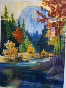 "River's Dome Tony Segale 44"" x 36"" framed original watercolor $900"