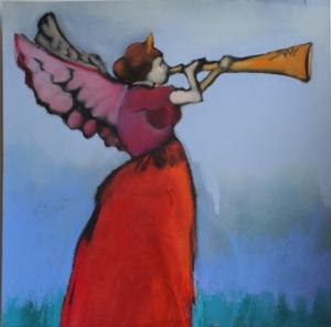 """Herald by Mardie Dalzell Driftmier 10""""x10"""" Framed Original Pastel"""